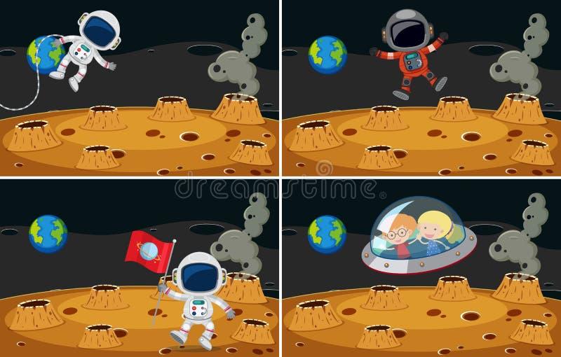 Τέσσερις διαστημικές σκηνές με το πέταγμα αστροναυτών ελεύθερη απεικόνιση δικαιώματος