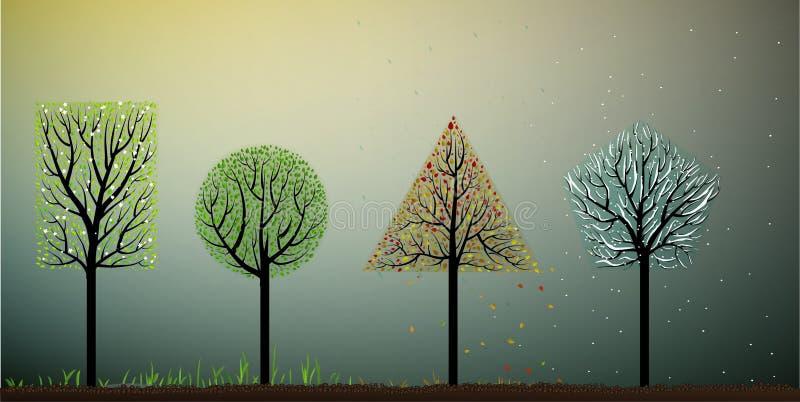 Τέσσερις εποχές, δέντρο μορφής γεωμετρίας απεικόνιση αποθεμάτων