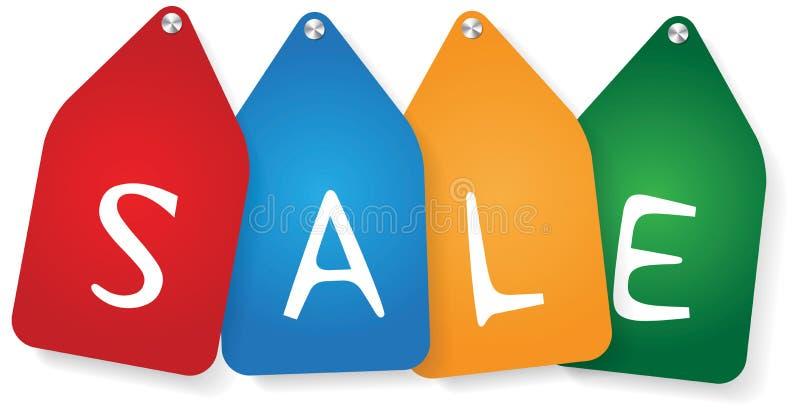 Τέσσερις ετικέτες με την πώληση κειμένων απεικόνιση αποθεμάτων