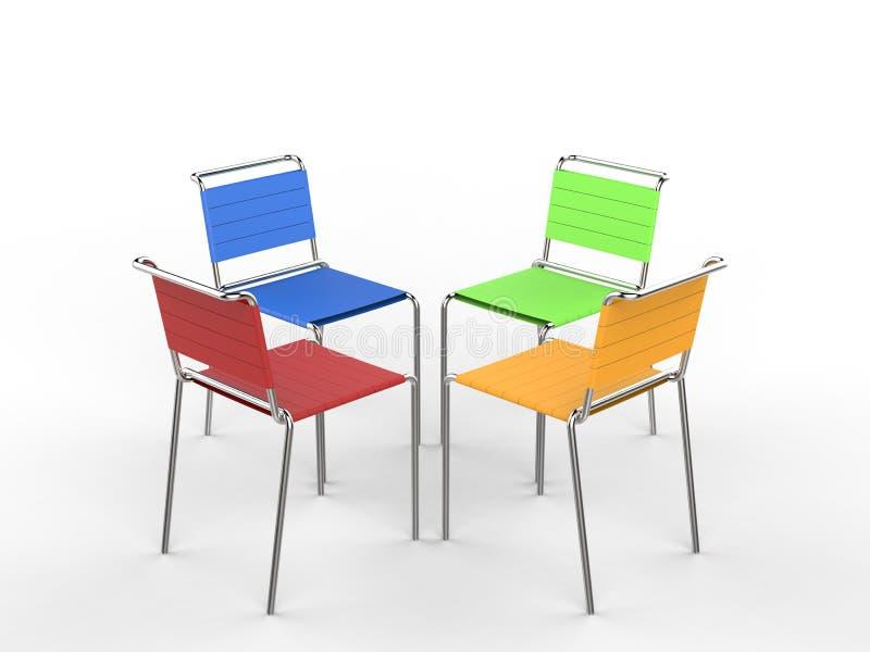 Τέσσερις ζωηρόχρωμες καρέκλες με τα λουριά υφασμάτων στοκ εικόνες με δικαίωμα ελεύθερης χρήσης