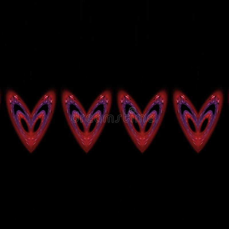 Τέσσερις ζωηρόχρωμες κόκκινες μπλε fractal καρδιές στο μαύρο κεραμίδι ελεύθερη απεικόνιση δικαιώματος