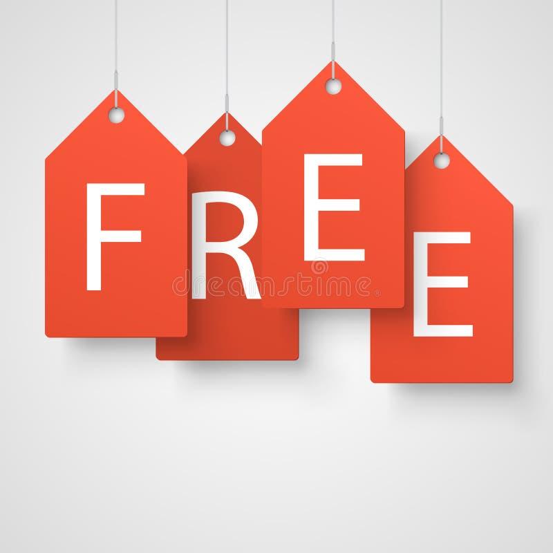 Τέσσερις μεγάλες πορτοκαλιές ετικέττες με τη λέξη ελεύθερη ελεύθερη απεικόνιση δικαιώματος