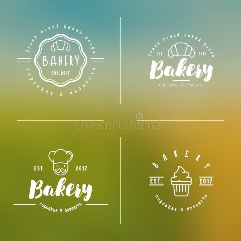 Τέσσερις μορφές του λογότυπου αρτοποιείων με τα λεπτά εικονίδια γραμμών διανυσματική απεικόνιση