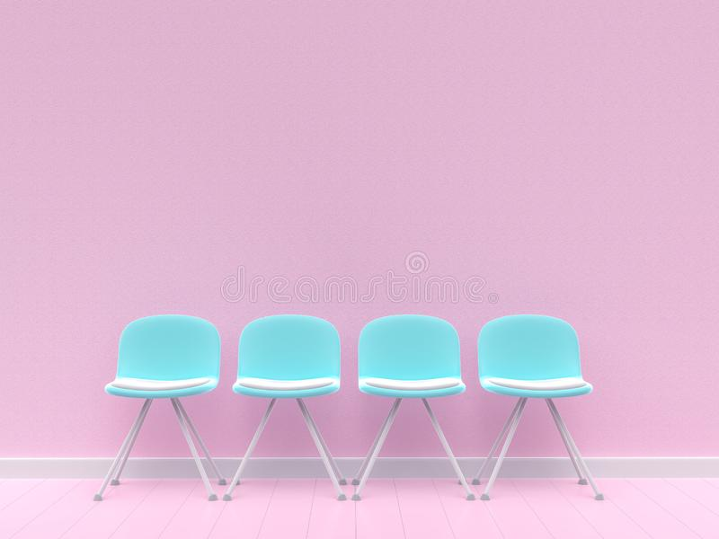 Τέσσερις μπλε καρέκλες στο συμπαγή τοίχο απεικόνιση αποθεμάτων