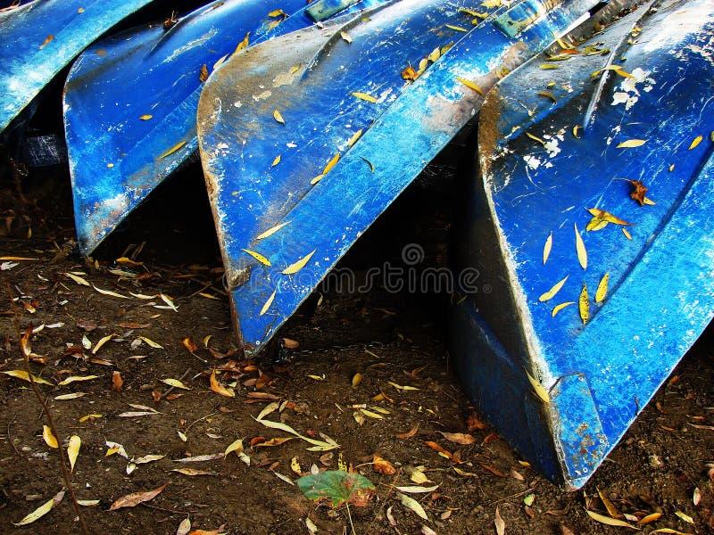 Τέσσερις μπλε βάρκες στοκ εικόνα