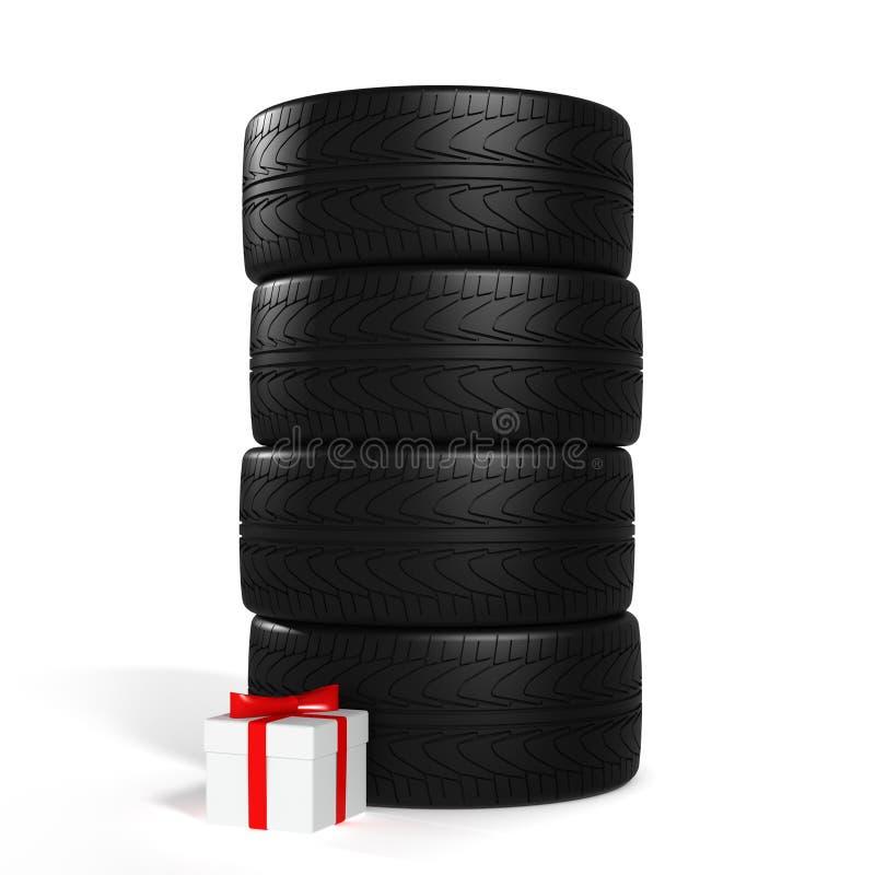Τέσσερις νέες ρόδες αυτοκινήτων και άσπρο δώρο με την κόκκινη κορδέλλα στο λευκό διανυσματική απεικόνιση