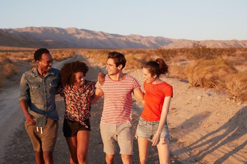 Τέσσερις νέοι ενήλικοι φίλοι που περπατούν σε έναν δρόμο ερήμων, κλείνουν επάνω στοκ εικόνα