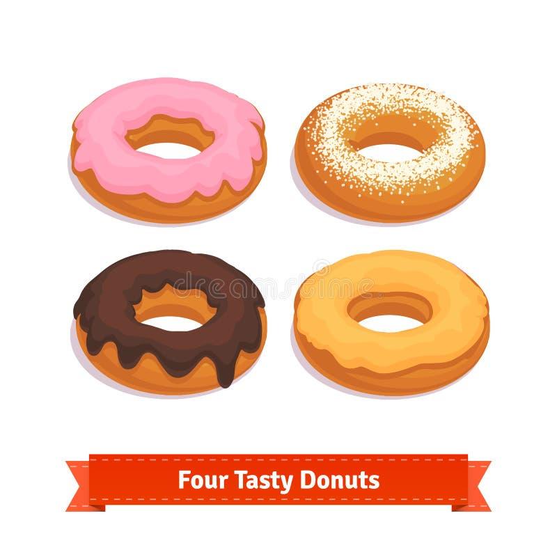 Τέσσερις νόστιμος που αρωματίζεται donuts με την τοποθέτηση υαλοπινάκων ελεύθερη απεικόνιση δικαιώματος