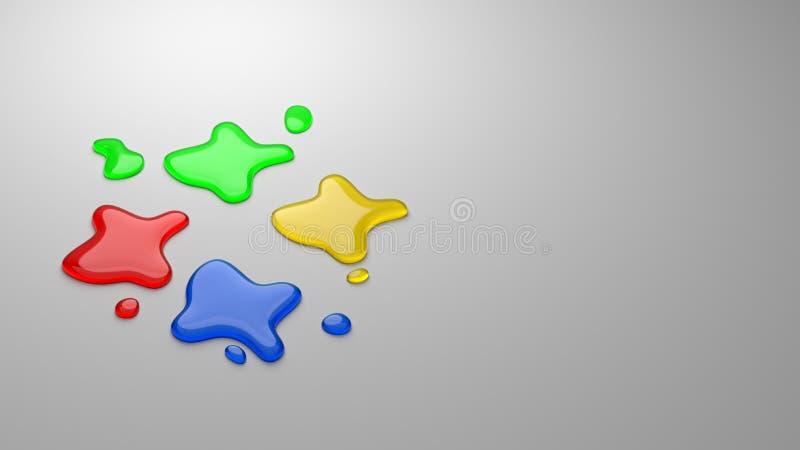 Τέσσερις πτώσεις μελανιού χρωμάτων ελεύθερη απεικόνιση δικαιώματος