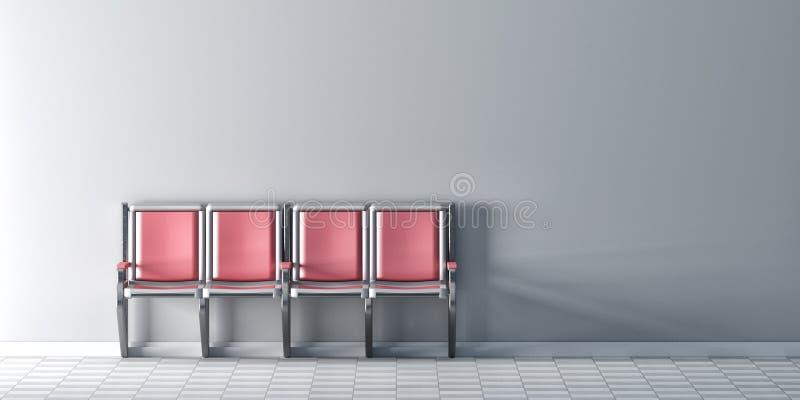 Τέσσερις ρόδινες καρέκλες στη σειρά στον άσπρο τοίχο ελεύθερη απεικόνιση δικαιώματος