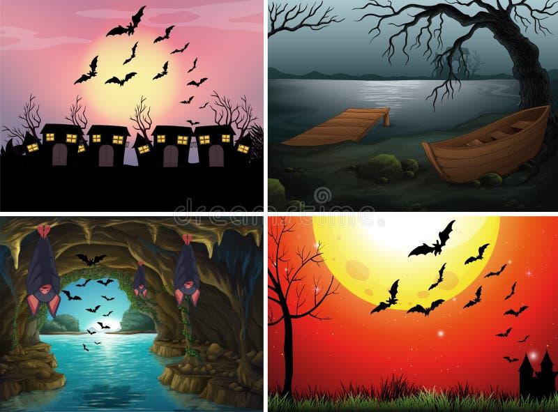 Τέσσερις σκηνές με τα ρόπαλα τη νύχτα απεικόνιση αποθεμάτων