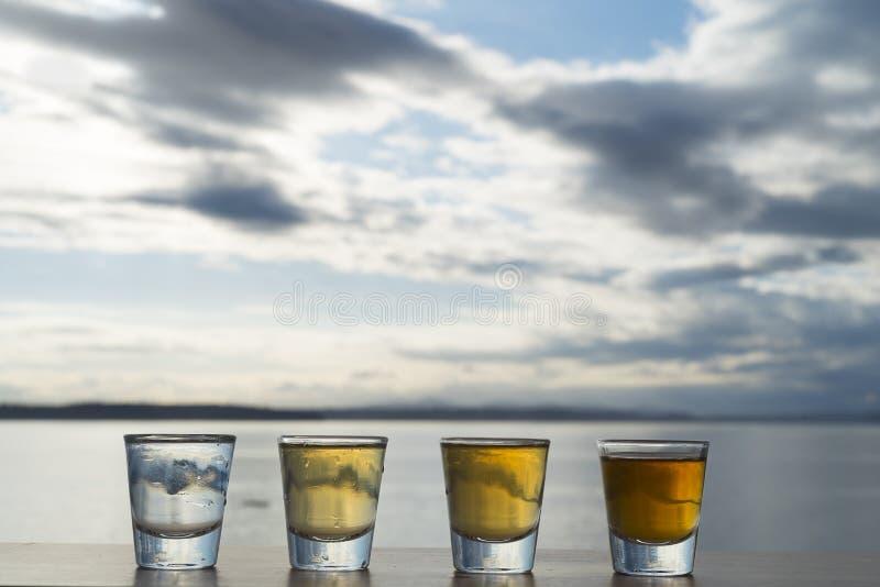 Τέσσερις τύποι πυροβολισμών tequila που παρατάσσονται στη γέφυρα παραλιών στοκ φωτογραφία με δικαίωμα ελεύθερης χρήσης