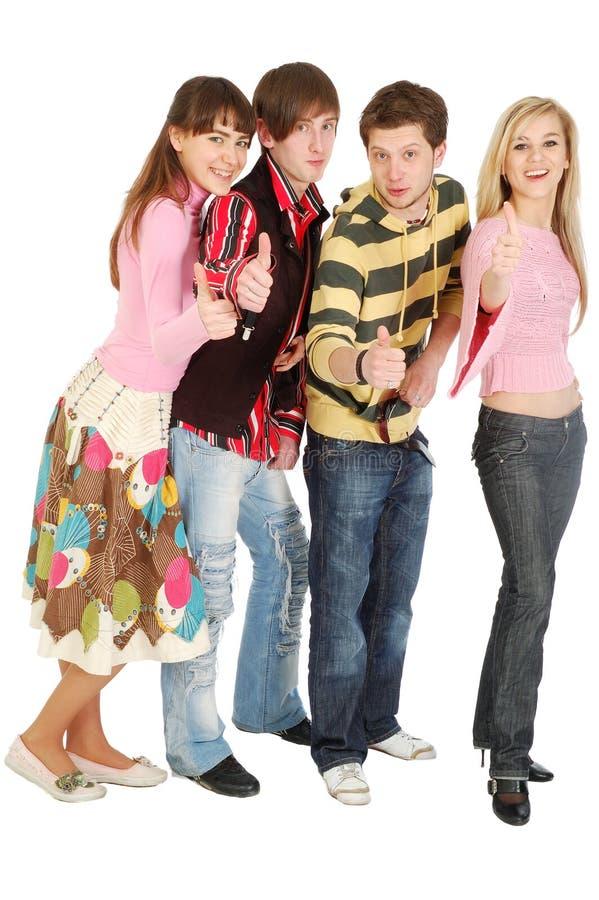 τέσσερις φίλοι εντάξει ε&mu στοκ φωτογραφία με δικαίωμα ελεύθερης χρήσης