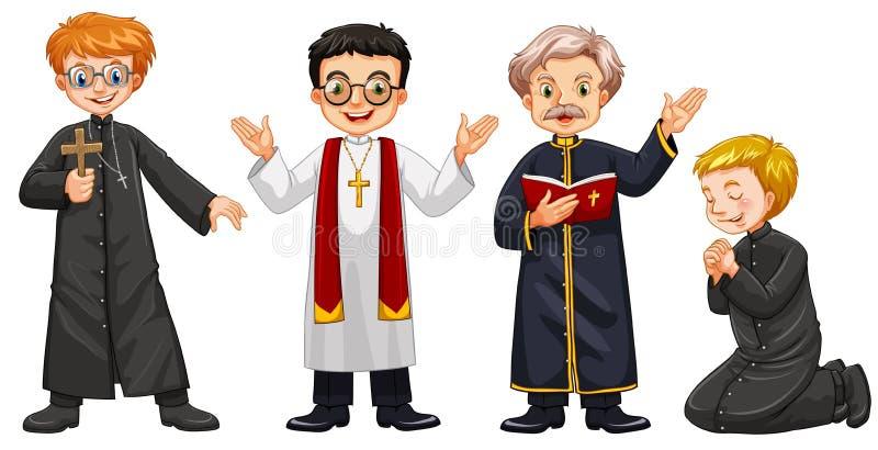 Τέσσερις χαρακτήρες των ιερέων διανυσματική απεικόνιση