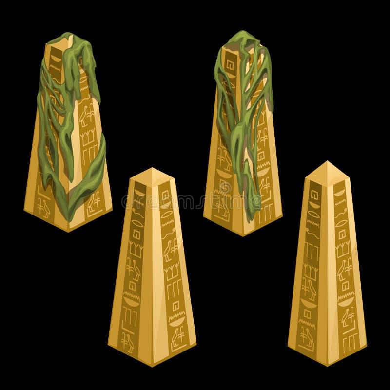 Τέσσερις χρυσές στήλες με τα αιγυπτιακά σημάδια ελεύθερη απεικόνιση δικαιώματος