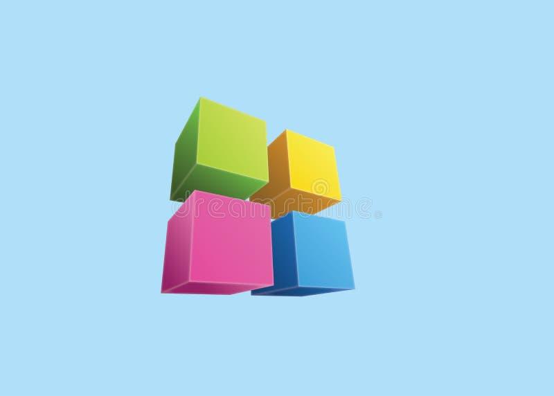 Τέσσερις χρωματισμένοι κύβοι στοκ εικόνες