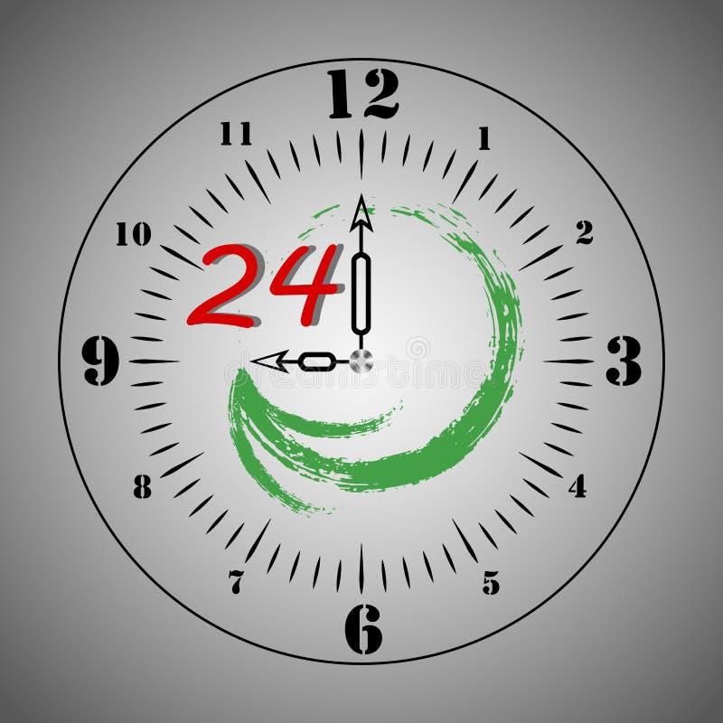 τέσσερις ώρες είκοσι Το σύμβολο της εικοσιτετράωρης λειτουργίας, που εξυπηρετεί τις ώρες υποδοχής, είναι ανοικτό διάνυσμα διανυσματική απεικόνιση