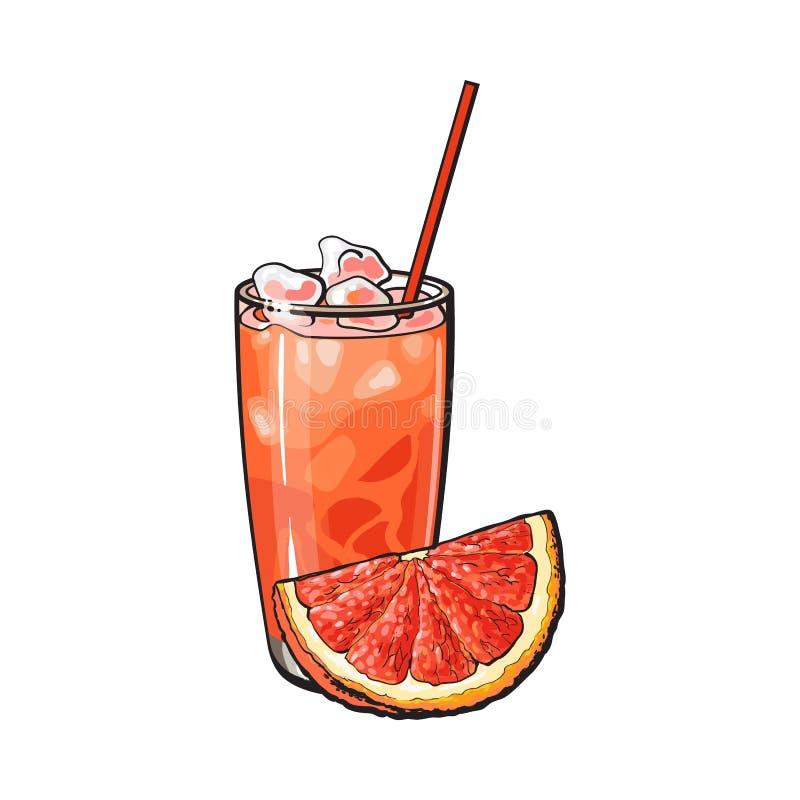 Τέταρτο γκρέιπφρουτ και ποτήρι του πρόσφατα συμπιεσμένου χυμού με τον πάγο απεικόνιση αποθεμάτων