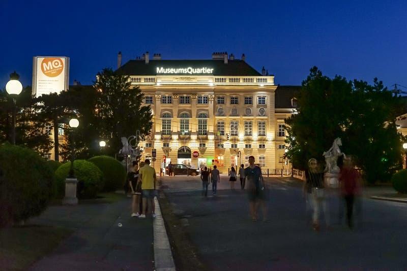 Τέταρτο μουσείων της Βιέννης τη νύχτα στοκ φωτογραφίες