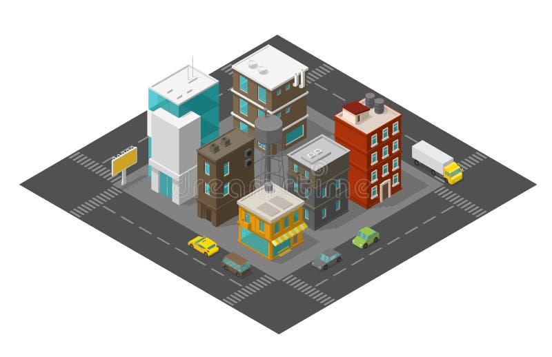 Τέταρτο περιοχής οδών πόλεων Isometric ο δρόμος γύρω Πόλης τοπ άποψη αυτοκινήτων και κτηρίων τρισδιάστατη r απεικόνιση αποθεμάτων