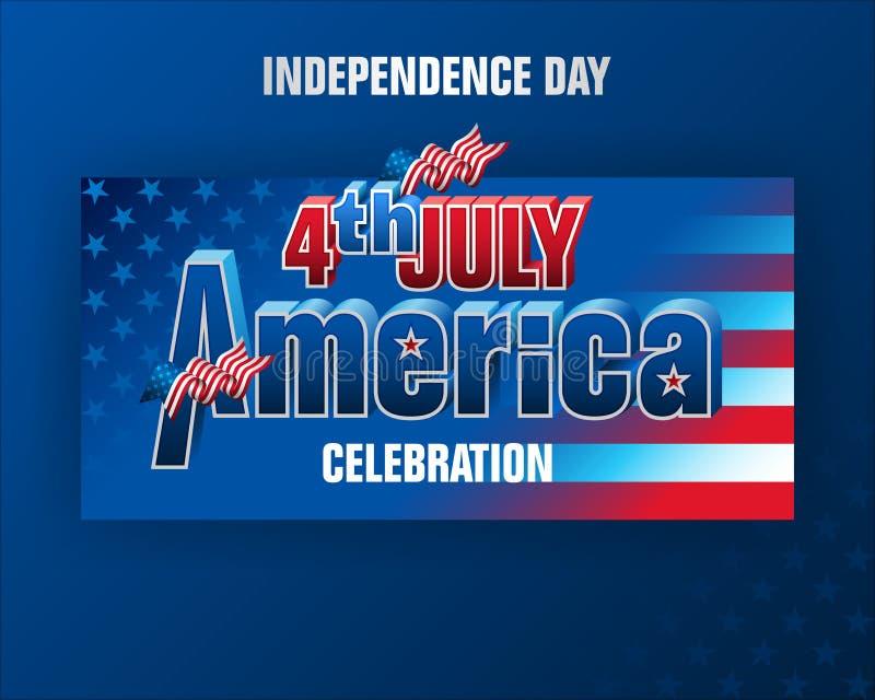 Τέταρτο της Αμερικής της ημέρα της ανεξαρτησίαςης Ιουλίου, εορτασμός διανυσματική απεικόνιση