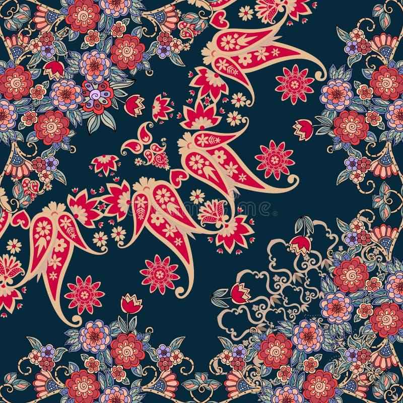 Τέταρτο της εθνικής ρωσικής τυπωμένης ύλης bandana με τα floral σύνορα Μαντίλι λαιμών μεταξιού με τις όμορφα ανθοδέσμες και το Pa ελεύθερη απεικόνιση δικαιώματος
