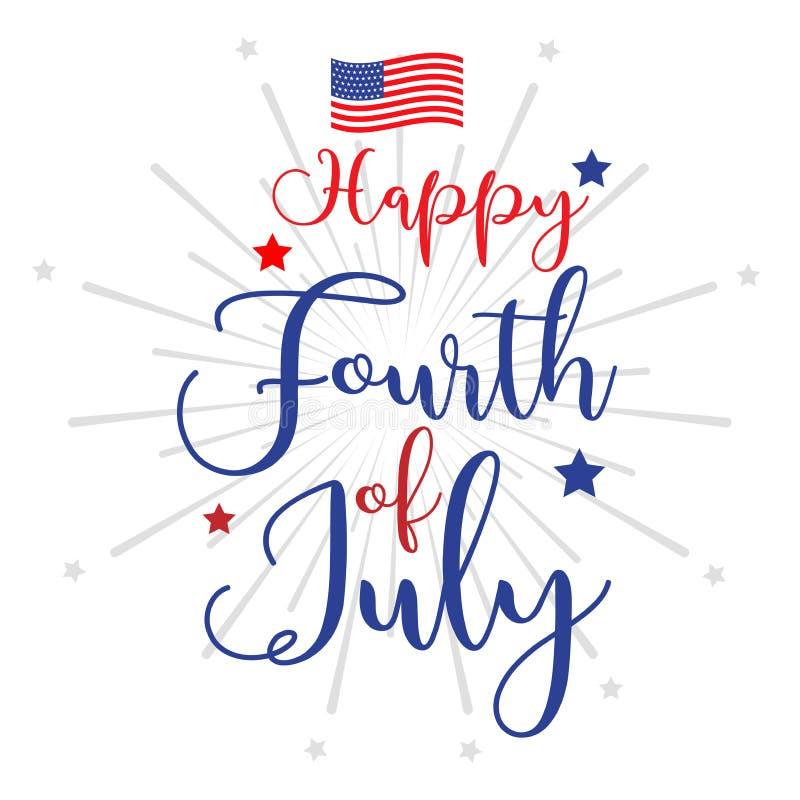 Τέταρτο της επιγραφής εγγραφής χεριών Ιουλίου για τη ευχετήρια κάρτα, το έμβλημα κ.λπ. Ευτυχής ημέρα της ανεξαρτησίας των Ηνωμένω ελεύθερη απεικόνιση δικαιώματος