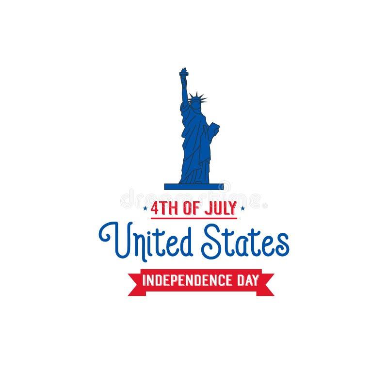 Τέταρτο της ημέρα της ανεξαρτησίαςης Ιουλίου, ΑΜΕΡΙΚΑΝΙΚΗ Κάρτα με το άγαλμα της ελευθερίας και της τυπογραφίας διανυσματική απεικόνιση