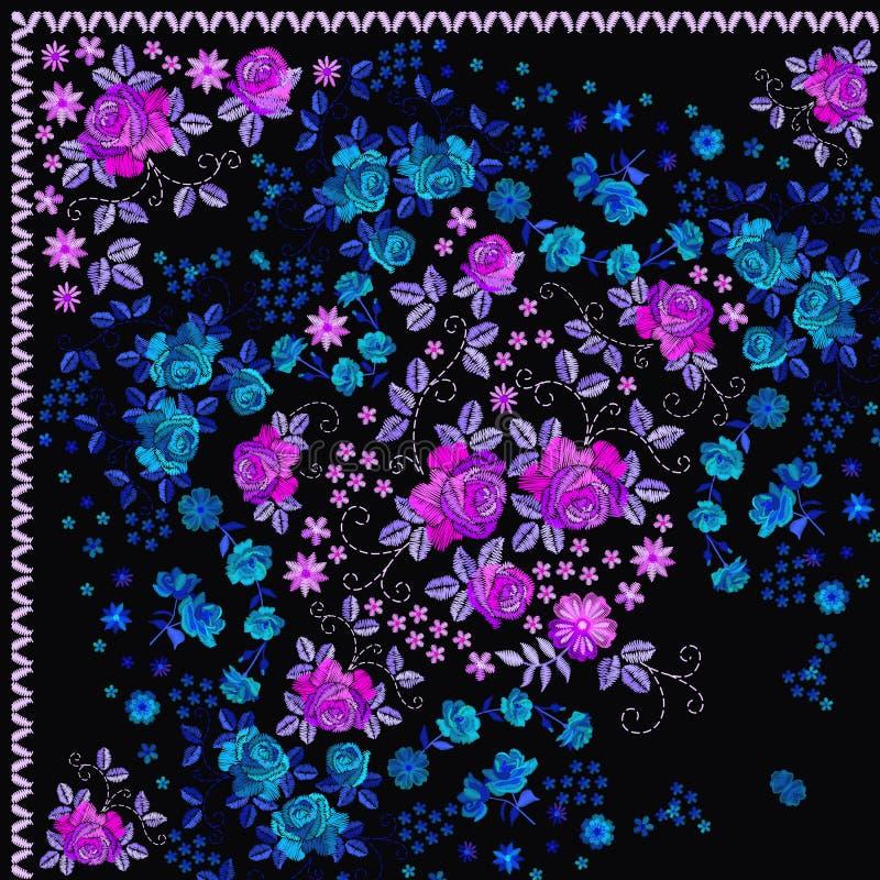 Τέταρτο της ισπανικής τυπωμένης ύλης bandana με τη ρόδινη και μπλε floral κεντητική Μαντίλι λαιμών μεταξιού με τα όμορφα λουλούδι διανυσματική απεικόνιση