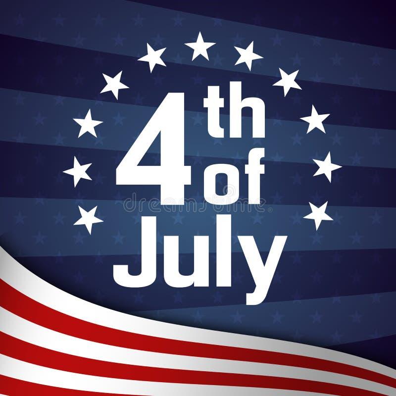 Τέταρτο του αναδρομικού προτύπου αφισών Ιουλίου ελεύθερη απεικόνιση δικαιώματος
