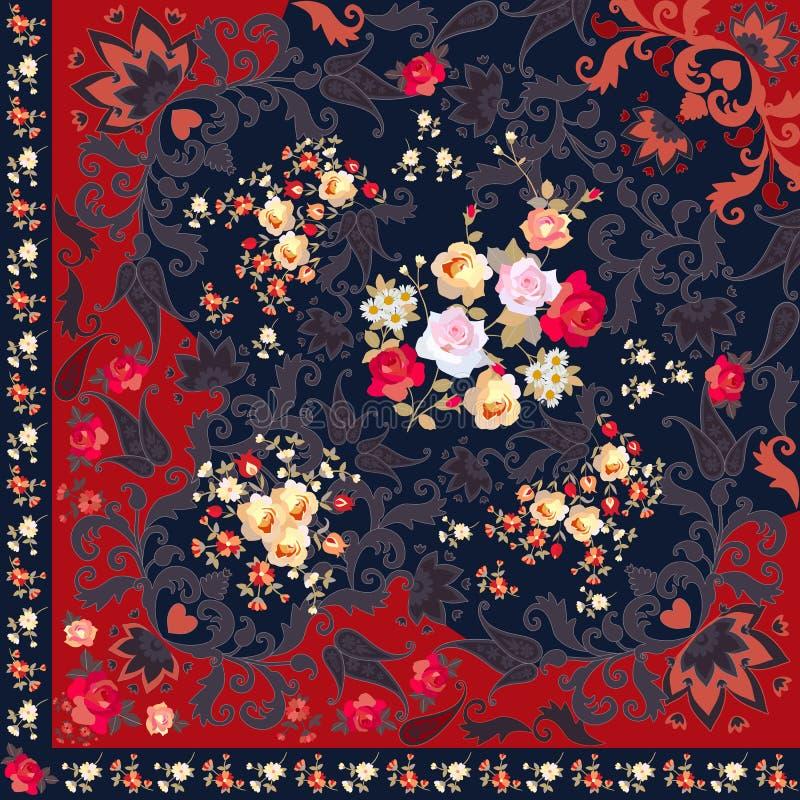 Τέταρτο του λαϊκού σαλιού με τα λουλούδια, την περίκομψη διακόσμηση του Paisley και τα floral σύνορα Ισπανικά, ρωσικά, ινδικά κίν ελεύθερη απεικόνιση δικαιώματος