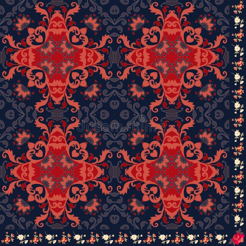 Τέταρτο του λαϊκού shaw με την όμορφη αφηρημένη διακόσμηση και τα floral σύνορα Ινδικά, ινδονησιακά, αφρικανικά κίνητρα ελεύθερη απεικόνιση δικαιώματος