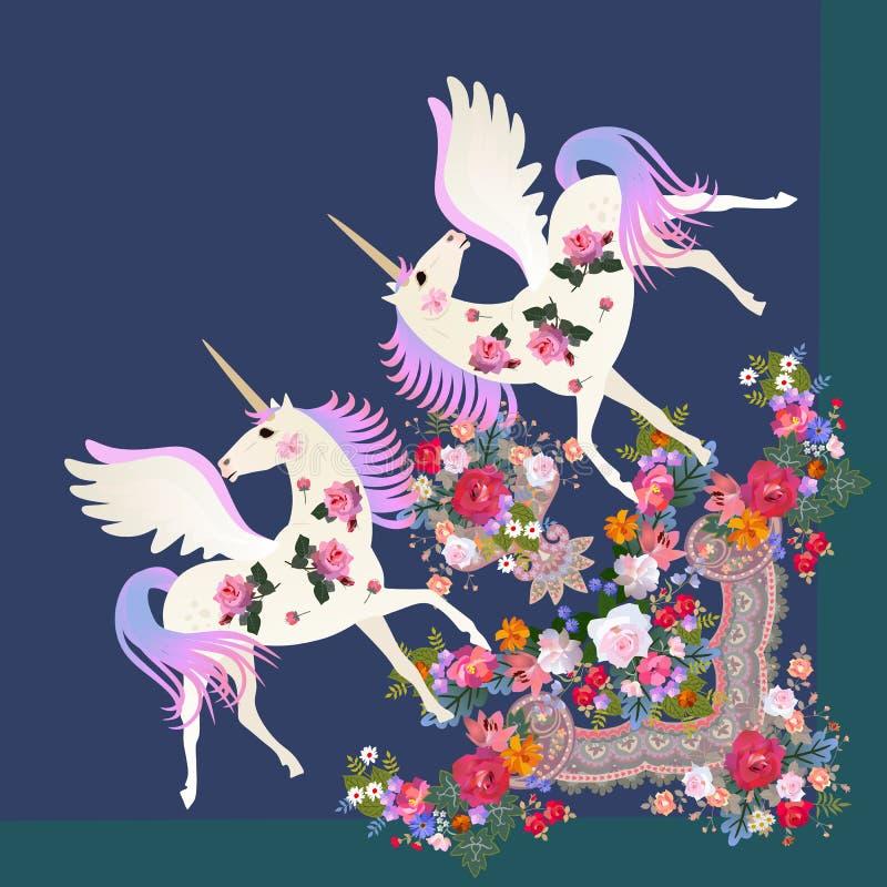 Τέταρτο του σαλιού με τους χαριτωμένους φτερωτούς μονοκέρους και του f απεικόνιση αποθεμάτων