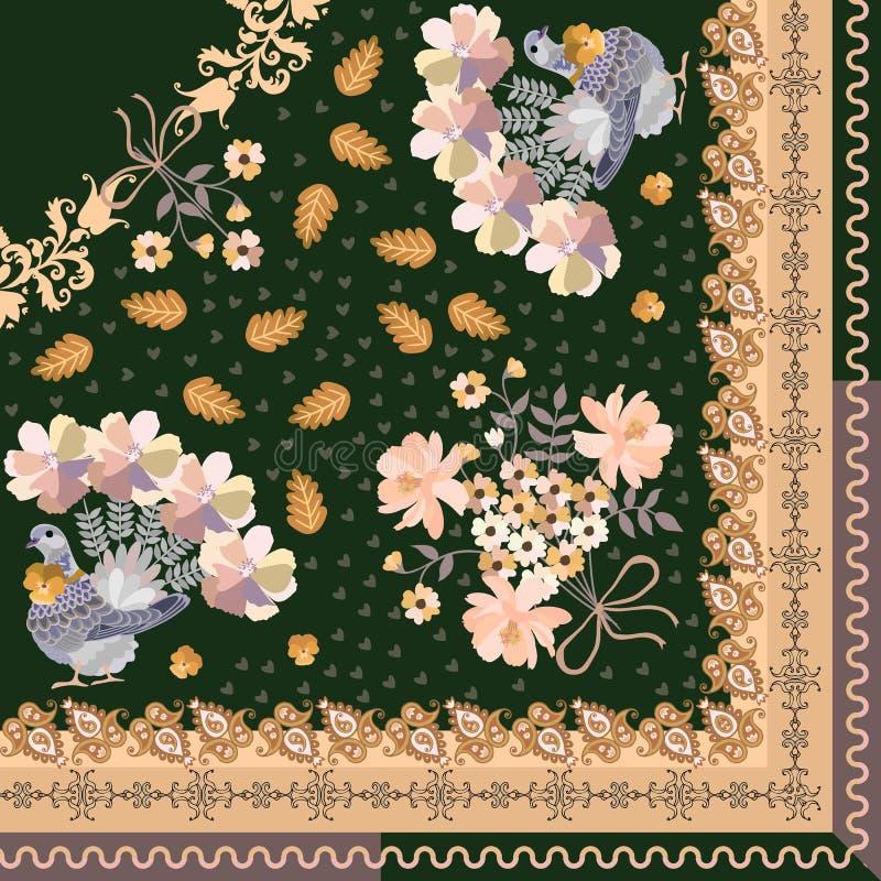 Τέταρτο του σαλιού στο εθνικό ύφος Περιστέρια με τις ουρές στη μορφή τ απεικόνιση αποθεμάτων