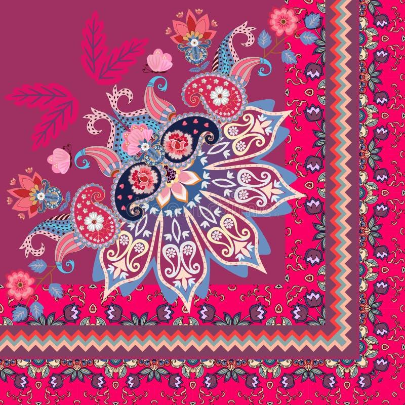 Τέταρτο του σαλιού στο εθνικό ύφος Τα μισά από το mandala, το Paisley, τα λουλούδια και τα διακοσμητικά σύνορα στο διάνυσμα Ινδικ διανυσματική απεικόνιση