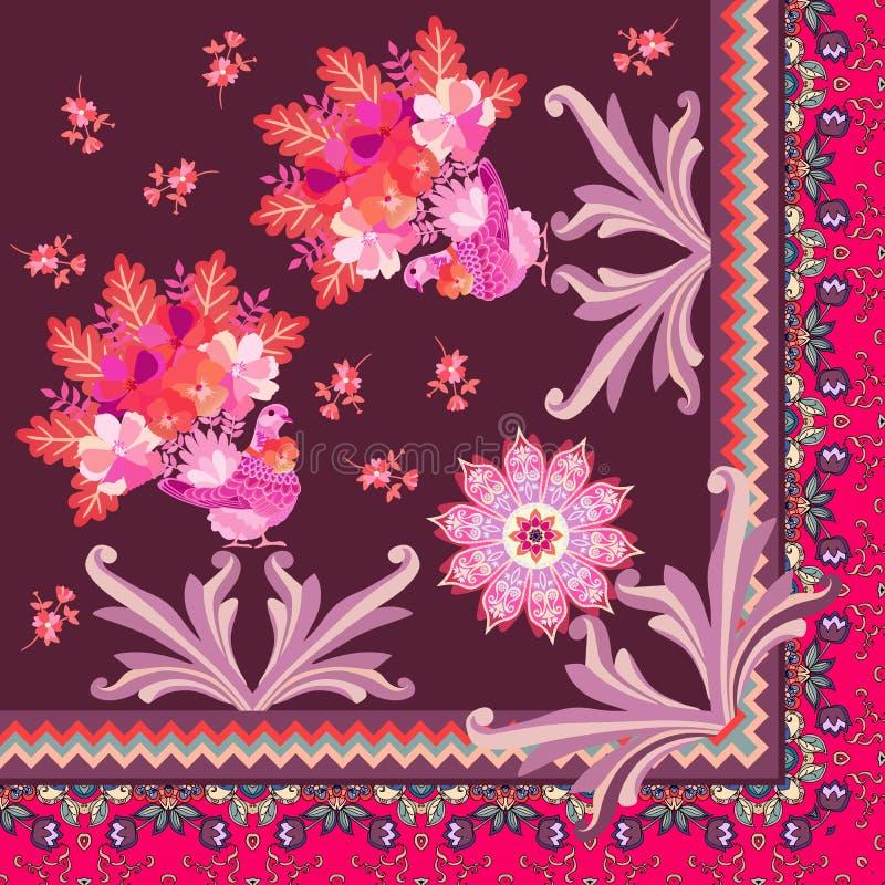 Τέταρτο του όμορφου μαντίλι μεταξιού με τα περιστέρια νεράιδων, τα φύλ ελεύθερη απεικόνιση δικαιώματος