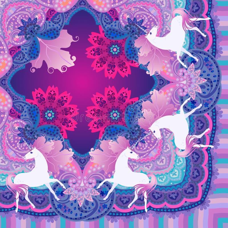Τέταρτο του όμορφου σαλιού με τους χαριτωμένους μονοκέρους στη διακοσμητική εθνική καταγωγή διανυσματική απεικόνιση