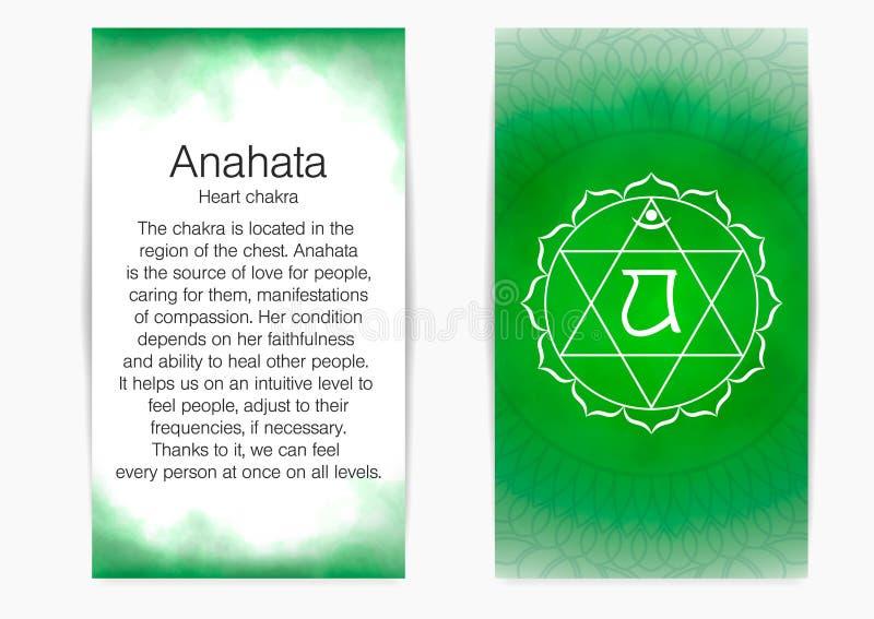 Τέταρτο, chakra καρδιών - Anahata διανυσματική απεικόνιση