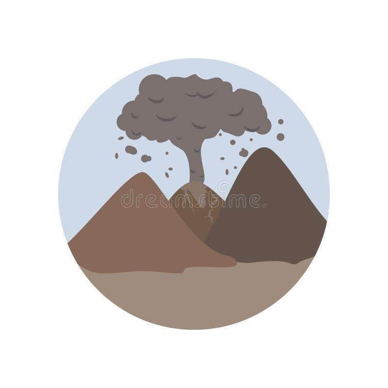 Τέφρα, σύννεφο τέφρας, ρύπανση, καπνός, ηφαιστειακός, εικονίδιο χρώματος καταστροφής Στοιχείο της σφαιρικής θερμαίνοντας απεικόνι απεικόνιση αποθεμάτων