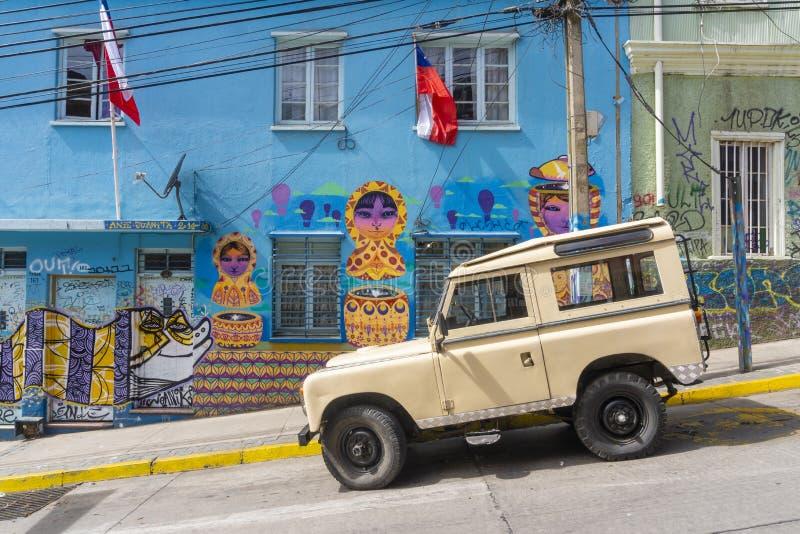 Τέχνες οδών, γκράφιτι σε Valparaiso, Χιλή στοκ εικόνες