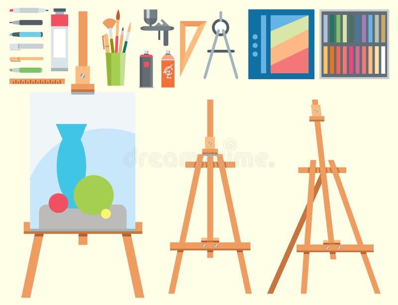 Τέχνης εργαλείων επίπεδος ζωγραφικής εικονιδίων λεπτομερειών εξοπλισμός χρωμάτων χαρτικών δημιουργικός απεικόνιση αποθεμάτων