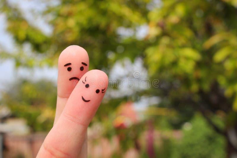 Τέχνη δάχτυλων του ζεύγους Η γυναίκα είναι εύθυμος άνδρας είναι λυπημένη στοκ εικόνα