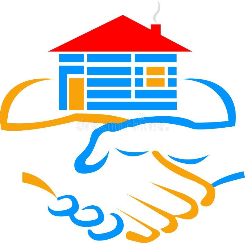 Λογότυπο οικοδόμων χειραψιών διανυσματική απεικόνιση