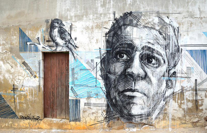 Τέχνη γκράφιτι του προσώπου και του πουλιού στοκ φωτογραφίες με δικαίωμα ελεύθερης χρήσης