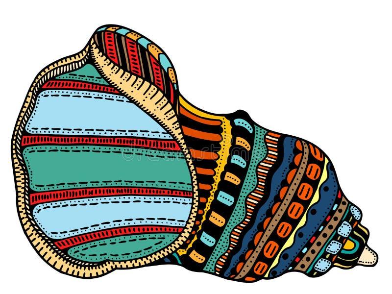 Τέχνη γραμμών θαλασσινών κοχυλιών ελεύθερη απεικόνιση δικαιώματος