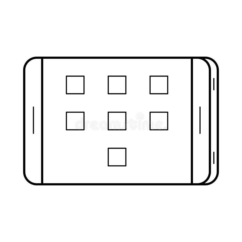 Τέχνη γραμμών ταμπλετών, απλό εικονίδιο συσκευών διανυσματική απεικόνιση