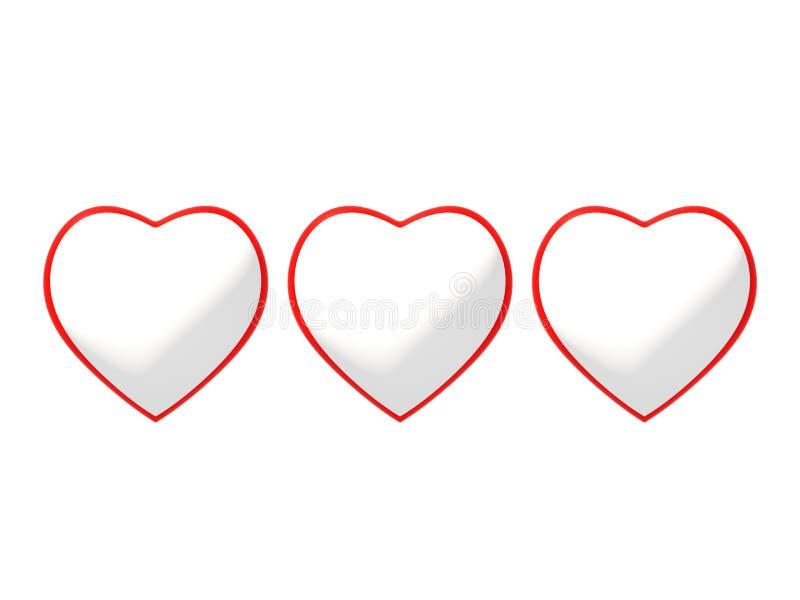 Τέχνη γραμμών της κόκκινης και άσπρης τρισδιάστατης ρεαλιστικής απεικόνισης συμβόλων καρδιών τρία στο άσπρο υπόβαθρο Ιδανικό για  απεικόνιση αποθεμάτων