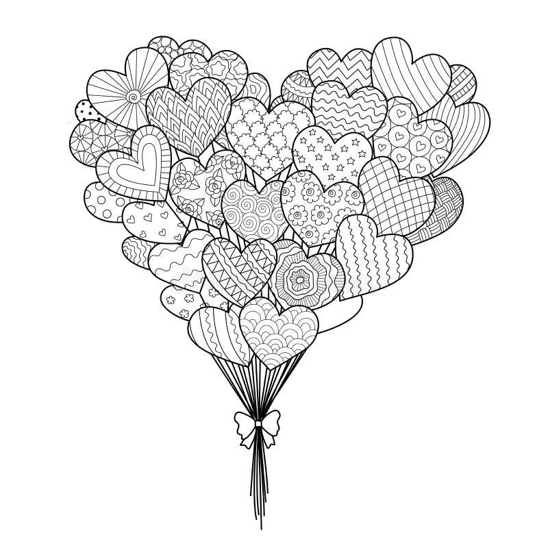 Τέχνη γραμμών των εγκάρδιων μπαλονιών μορφής για το στοιχείο σχεδίου και τη χρωματίζοντας σελίδα βιβλίων με τους βαλεντίνους ή το διανυσματική απεικόνιση