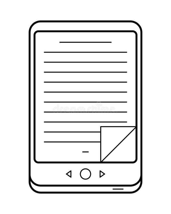Τέχνη γραμμών EBook, απλό εικονίδιο συσκευών ελεύθερη απεικόνιση δικαιώματος
