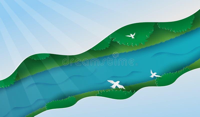 Τέχνη εγγράφου απεικόνισης του τοπίου στη τοπ φύση άποψης από τα δέντρα και τον ποταμό, του πράσινου δάσους τοπ άποψης με τον ποτ απεικόνιση αποθεμάτων